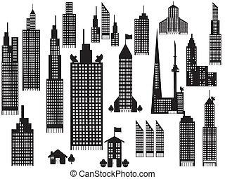 silhouette, di, prospettiva, città, costruzioni