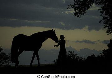 silhouette, di, ragazza, con, cavallo