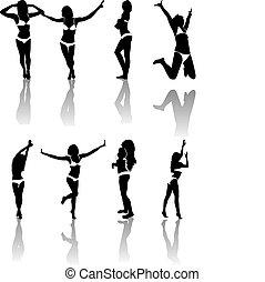silhouette, di, ragazze, ., vettore, illustrazione
