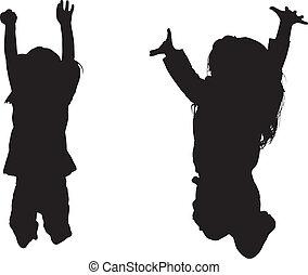 silhouette, di, saltare, bambini