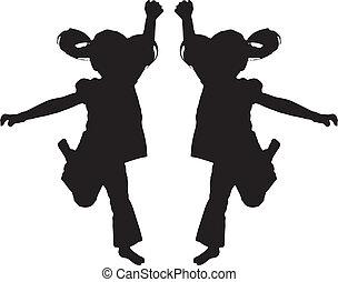 silhouette, di, saltare, capretto