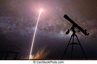 silhouette, di, telescope., elementi, di, questo, immagine, ammobiliato, vicino, nasa