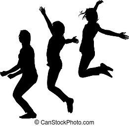 silhouette, di, tre, giovani ragazze, saltare, con, mani in alto, motion., vettore, illustrazione