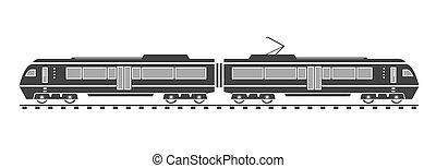 silhouette, di, treno elettrico