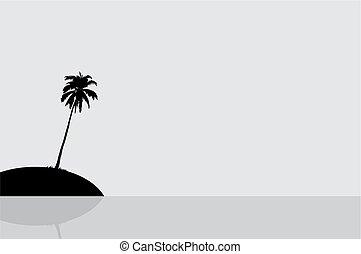 silhouette, di, un, isola