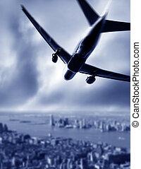 silhouette, di, uno, aereo