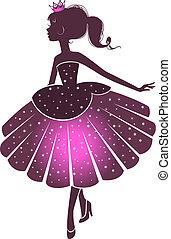 silhouette, di, uno, bello, principessa