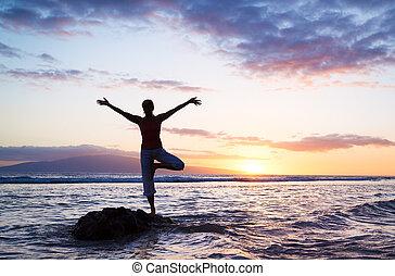 silhouette, di, uno, bello, yoga, donna
