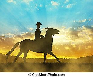 silhouette, di, uno, cavaliere, su, uno, cavallo