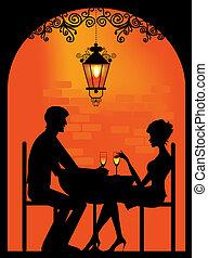 silhouette, di, uno, coppia, a, restauran