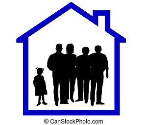 silhouette, di, uno, famiglia, in, uno, casa