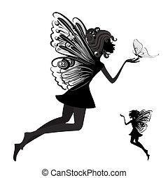 silhouette, di, uno, fata, con, farfalla