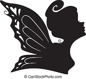 silhouette, di, uno, fata, ragazza