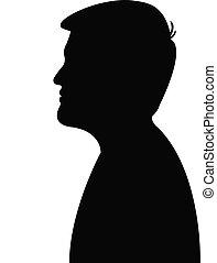 silhouette, di, uno, giovane, equipaggia, testa