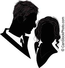 silhouette, di, uno, nuziale, coppia