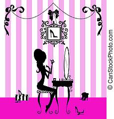 silhouette, di, uno, ragazza, a, lei, tavola vanità