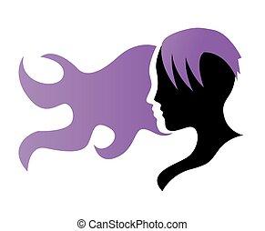 silhouette, di, uno, ragazza, profilo, con, capelli lunghi