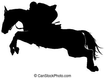 silhouette, di, uno, saltare, cavallo