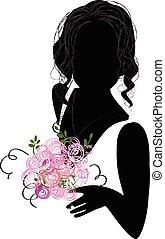 silhouette, di, uno, sposa