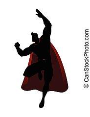 silhouette, di, uno, superhero, in, volare, atteggiarsi