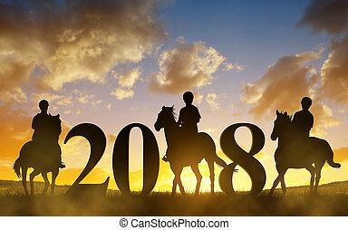 silhouette, di, uno, womans, sentiero per cavalcate, uno, cavallo, a, sunset.