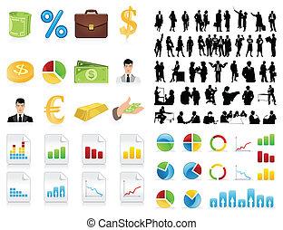 silhouette, di, uomini affari, e, un, icon., uno, vettore, illustrazione