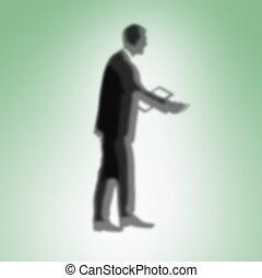 silhouette, di, uomo affari