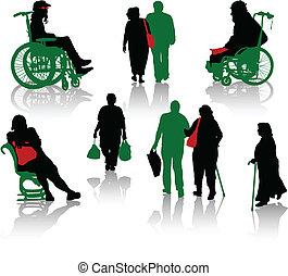 silhouette, di, vecchie persone, e, disabl