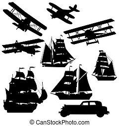 silhouette, di, vecchio, trasporto, vehciles
