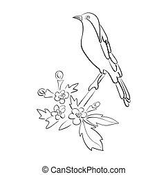 silhouette, di, vettore, uccello, sedere, su, ramo, con, fiori