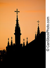 silhouette, di, vilnius, chiese