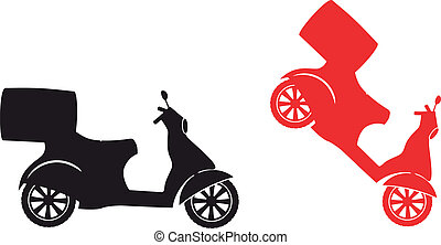 silhouette, dienst, scooter, -, snelle levering, symbool