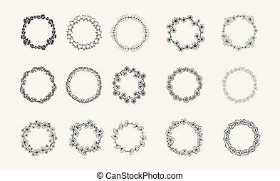 silhouette, différent, blé, blanc, circulaire, collection, foliate, noir, laurier, chêne, olive, couronnes