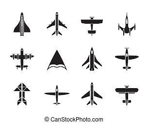 Silhouette different types of plane icons - vector icon set