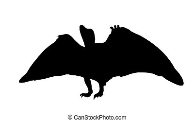 Silhouette Dinosaur. Black Vector Illustration.