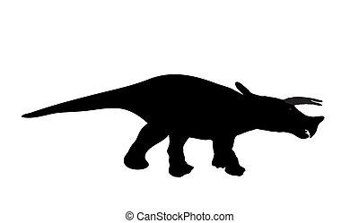 Silhouette Dinosaur. Black Vector Illustration.