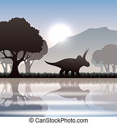 Silhouette dinosaur in landscape