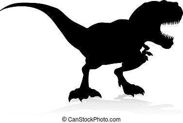 silhouette, dinosaurierer, trex