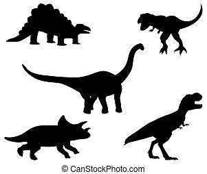 silhouette dinosaurs on white background vector design