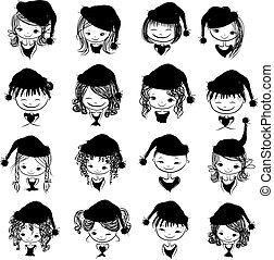 silhouette, disegno, cappello, santa, ritratto, ragazza, tuo, nero