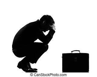 silhouette, disperazione, uomo, stanco, fatica
