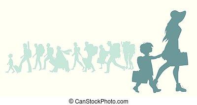silhouette, dochter, koffer, reizigers, anders, het reizen, achtergrond, moeder, groep, rugzakken