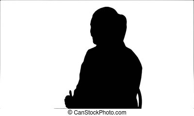 Silhouette Doctor talking to a patient, giving consultation sitting.