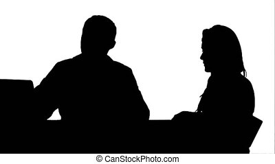 Silhouette Doctor Using Laptop Discussing With Patient track matte