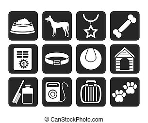 Silhouette dog accessory and symbols icons - vector icon set