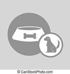 silhouette dog plate food icon