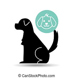 silhouette dog puppy icon