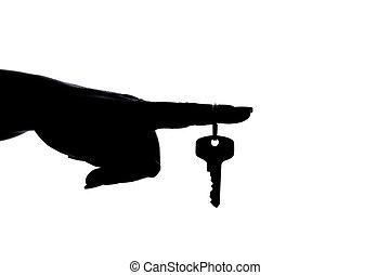 silhouette:, doigt, clã©, main
