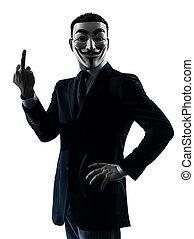 silhouette, doigt, homme, grouper portrait, pointage, anonyme, masqué