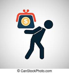 silhouette, dollar, économies, financier, crise, homme